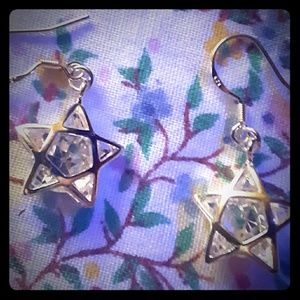 Earrings star with Swarovski clear chrystal